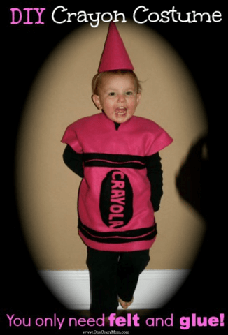 Learn how to make a crayon costume. You can make this homemade crayon costume for only $5! It's so easy to make a Crayola Crayon Costume. Try making this simple Crayon costume DIY.