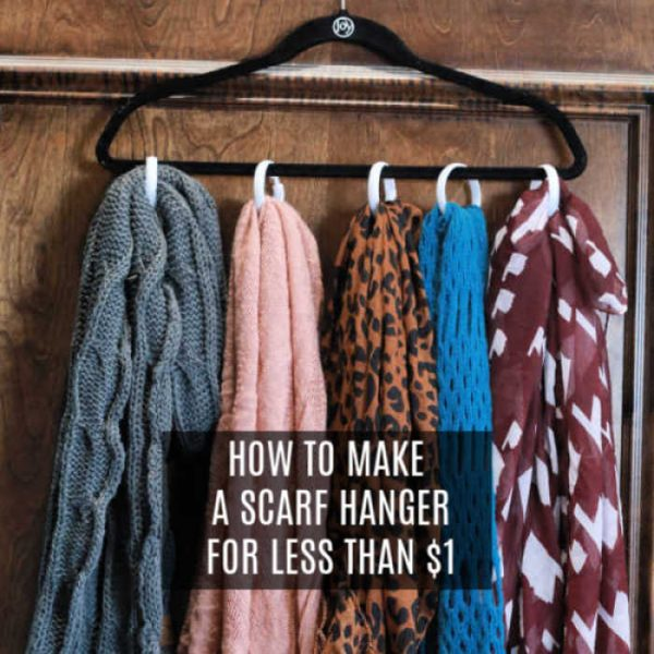 Scarf season is upon us and this diy scarf organizer will have your scarves in order. For under $1, you can make this easy diy scarf holder.