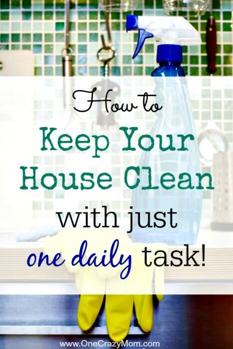 Learn how to keep your house clean with one daily task. No need to spend hours at a time cleaning once you know how to keep house clean and tidy daily.