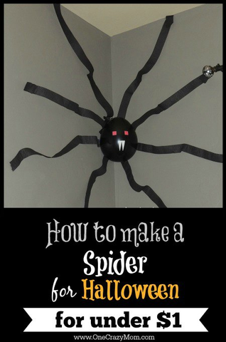 Check out this easy tutorial on How to Make a Spider for Halloween. Make a giant spider decoration with a balloon and crepe paper! It is so easy to make Halloween spider decorations. This large spider decoration is a very frugal Halloween decoration.