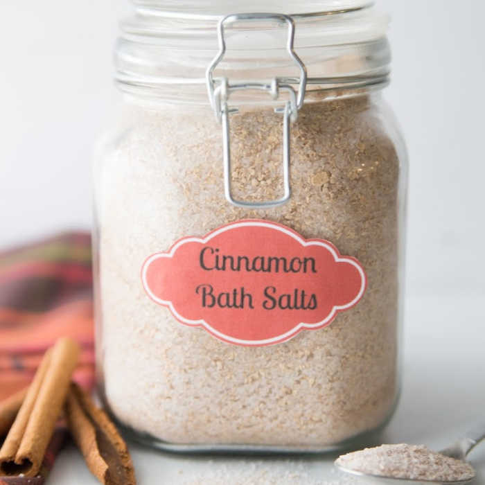 Cinnamon Homemade Bath Salts are so easy to make and smell heavenly.  Melt all your stress away when you use these decadent diy bath salts.