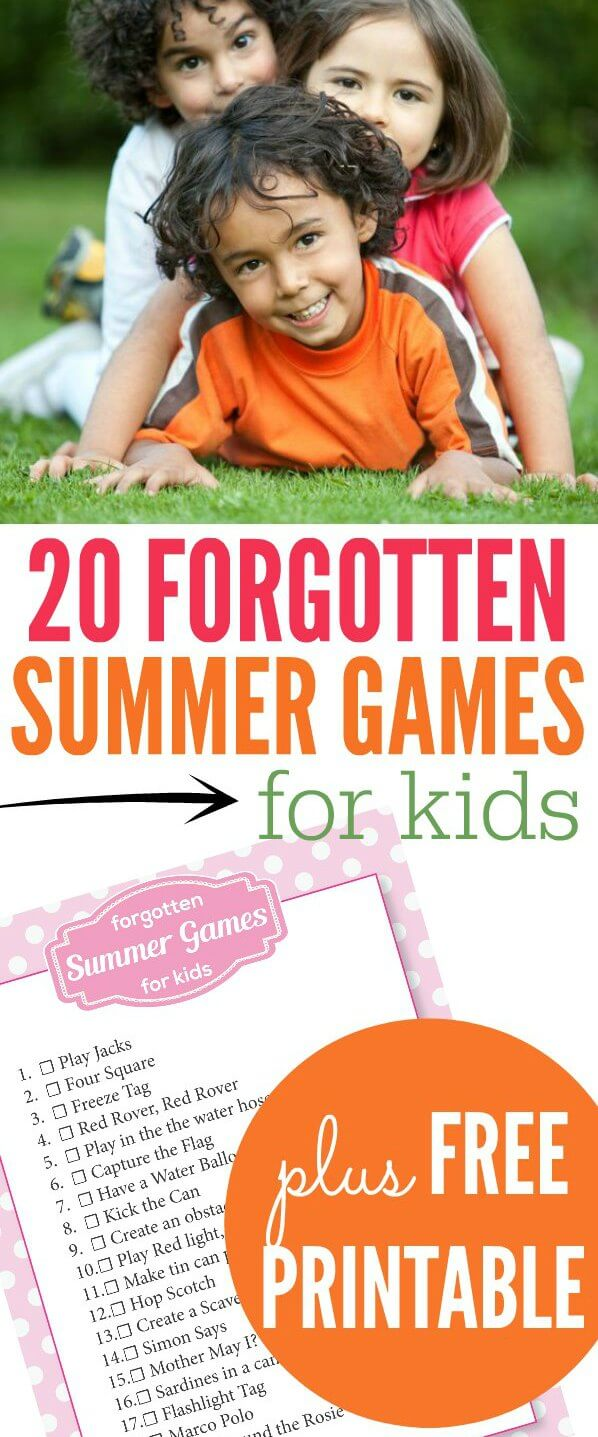 We have listed 20 forgotten summer games for kids. Some are fun outdoor games for kids while others are indoor games for kids for those rainy days. Choose one of the free games for kids that you want to try. There are so many options for everyone.