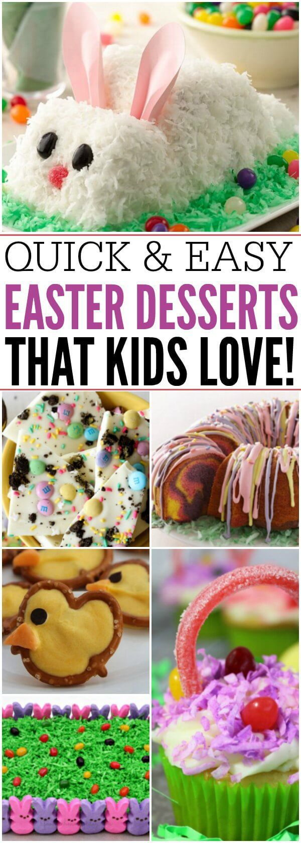 Here are 21 Quick and Easy Easter Dessert Recipes That Everyone will Adore! These cute Easter desserts for kids are sure to be a hit with everyone! From cakes and cupcakes to candy and treats, there is something everyone will love!