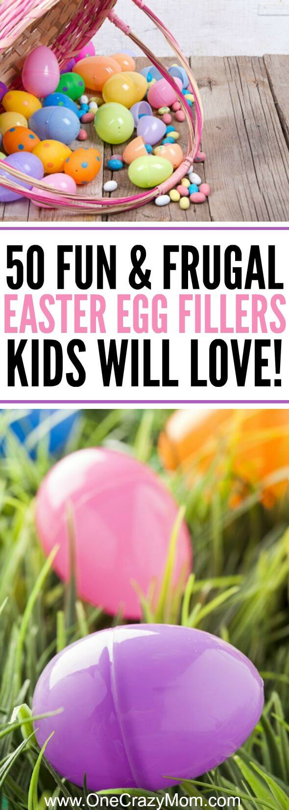 How to fill your Easter Eggs! We have 50 fun and frugal Plastic Easter Egg Fillers that kids will love. Find lots of non candy ideas as well as a few candy ideas too! Plastic Easter egg stuffers for everyone!