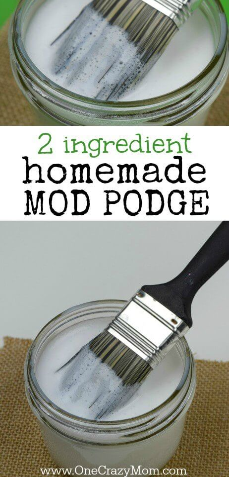 Learn how to make mod podge. You have to try this easy homemade mod podge recipe with only 2 easy ingredients. So simple!