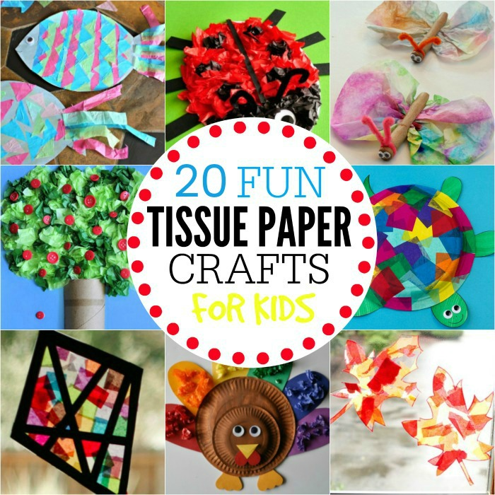 Put all that leftover tissue paper from parties to use with these tissue paper crafts for kids. We have 20 creative ideas that kids will love!