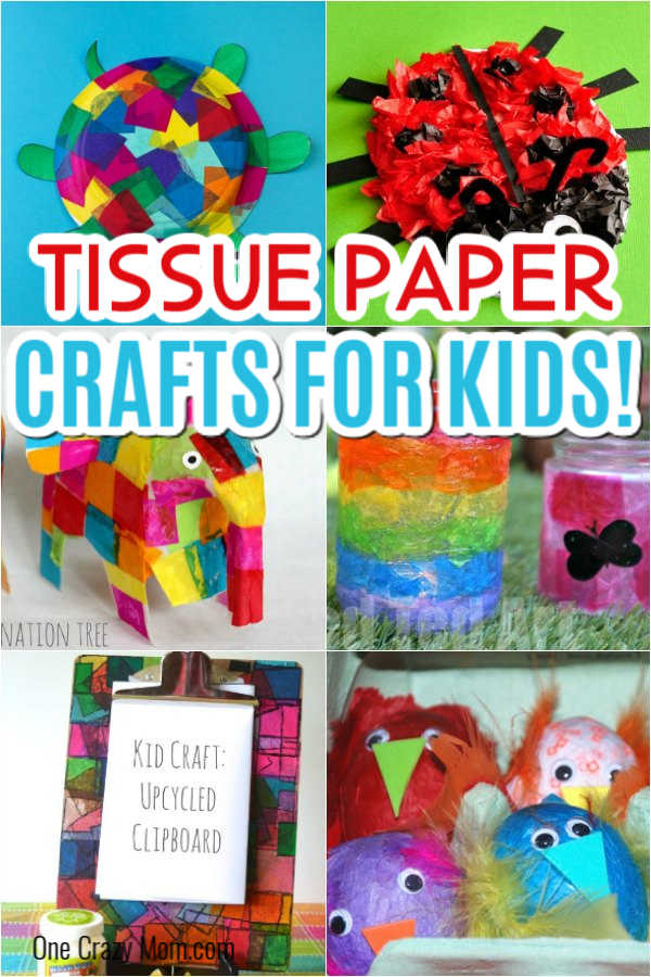 Put all that leftover tissue paper from parties to use with these tissue paper crafts for kids. We have 20+ creative ideas that kids will love! From easy stained glass to rainbows and great spring and summer crafts, this list includes fun tissue paper crafts for everyone! #onecrazymom #tissuepapercrafts #easycraftideas