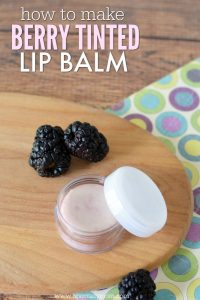 Learn how to make tinted lip balm today. You are going to love this berry tinted homemade lip balm! It is super easy and has a wonderful tint of color.