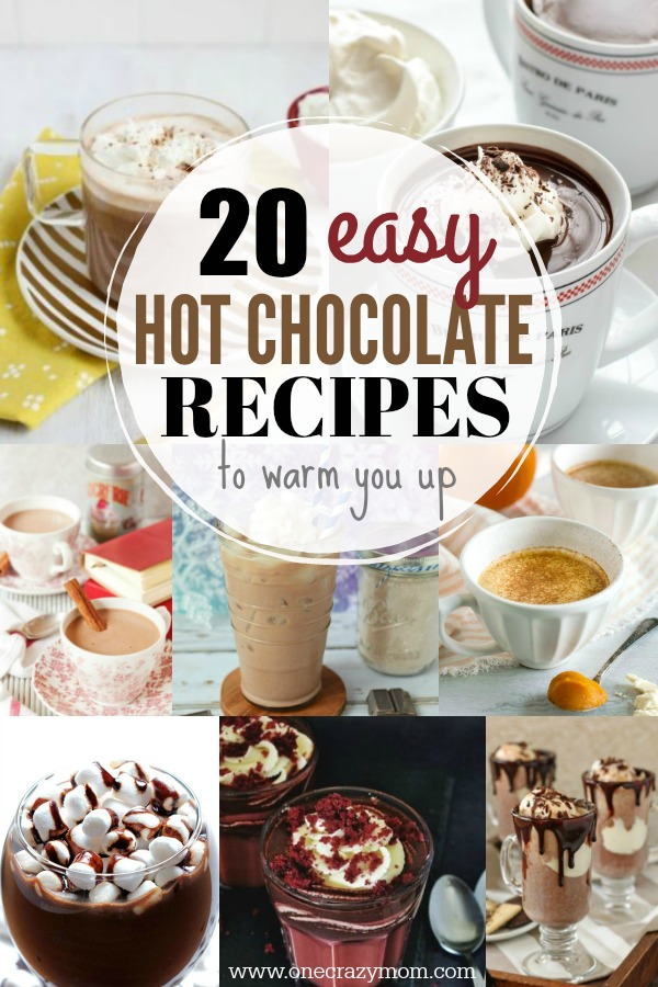Try these easy hot chocolate recipes for an amazing treat everyone will love this Winter. 20 of the best hot cocoa recipes. You will love these homemade hot chocolate recipes that are made in the crock pot, some with cocoa powder. Learn how to make your own hot chocolate at home! #eatingonadime #hotchocolaterecipes #drinkrecipes #winterrecipes