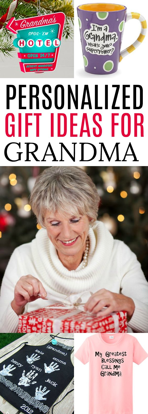 Find the perfect gifts for Grandma! We have 25 gift ideas for Grandma. 25 personalized gifts for Grandma she will love. Find presents for Grandma!