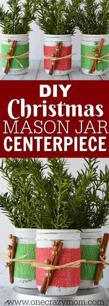 If you're looking for holiday centerpiece ideas,make this rustic Christmas centerpiece.This mason jar Christmas centerpiece is so simple and easy!