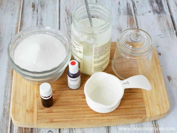 Make this easy Peppermint Sugar Scrub! Homemade Peppermint Sugar Scrub Recipe is moisturizing & smells amazing. Perfect for gifts!