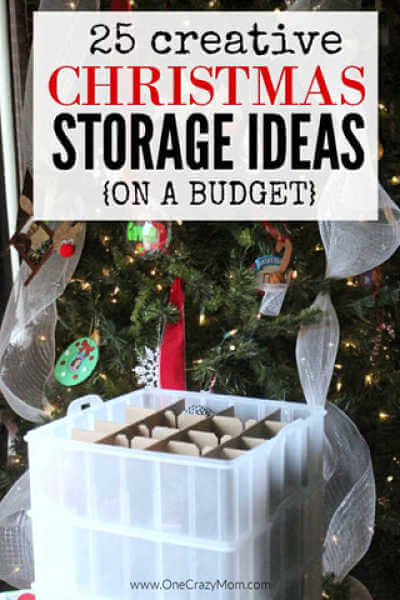 We have 25 easy Christmas storage ideas. Get everything organized with these Christmas decoration storage