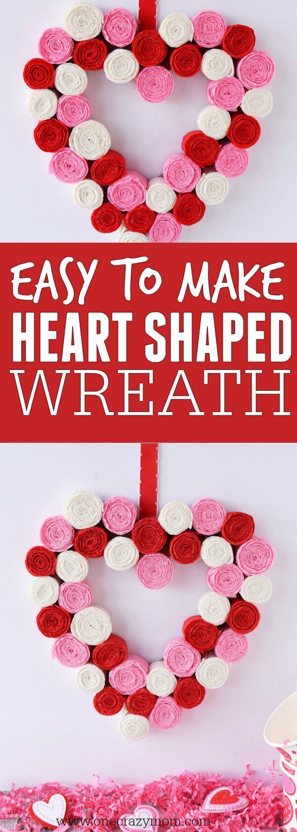 Make this festive heart shaped wreath for Valentine's Day. Learn how to make a heart wreath. This Valentine wreath is so simple and easy to make.