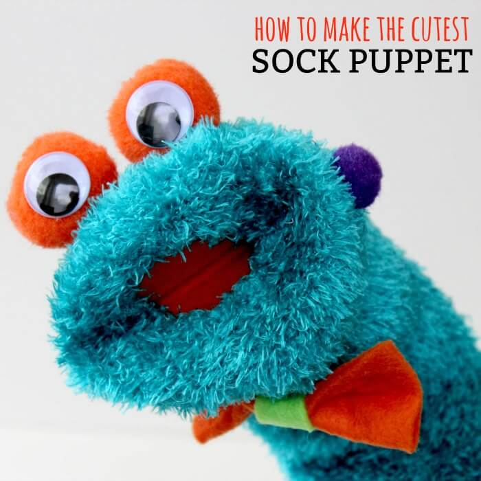 Learn how to make a hand puppet! It's very simple to make this diy sock puppet. Kids will love this easy diy hand puppet. Once you know how to make a sock puppet, it's so much fun! Make different puppets and have a puppet show!