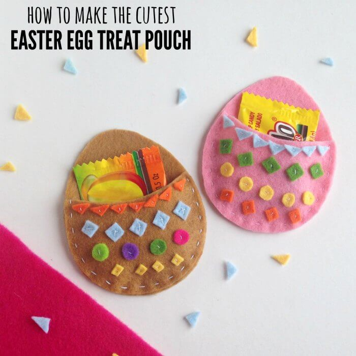 Make this DIY Easter Treat Pouch! It's so fun and perfect for a little bag of candy. DIY Easter crafts are so fun! Try this Easter Craft for kids today!
