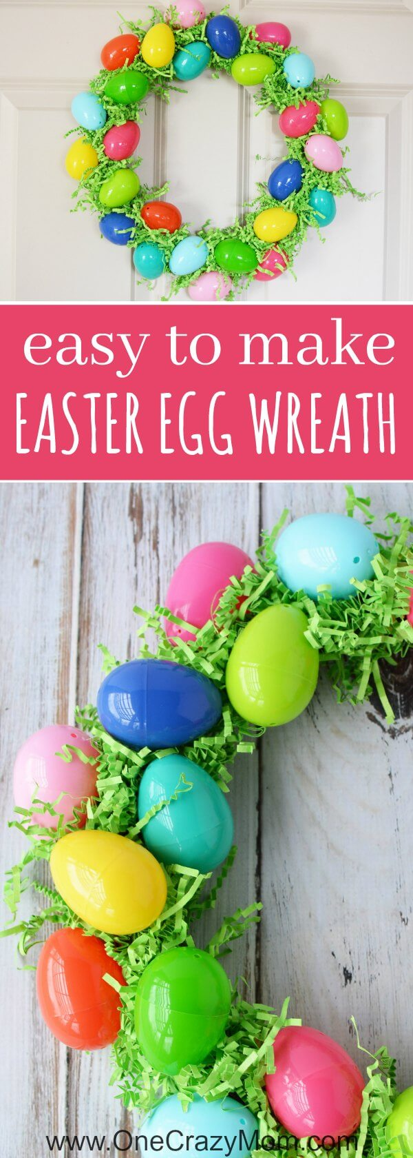 Make this DIY Easter Egg Wreath with items from the dollar store. You will love this easy Easter Egg Wreath DIY. Try this frugal Easter craft today.