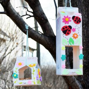 How to make a Homemade Bird Feeder out of Milk Cartons