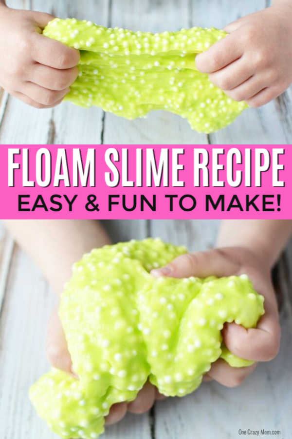 Learn how to make this floam recipe with liquid starch that is also borax free! This floam slime recipe is very easy to make and does not require a ton of ingredients. Once you know how to make floam slime, it's very simple. The kids will have a blast making this floam DIY! No need for kits when you have this no borax homemade recipe. #onecrazymom #floamrecipe