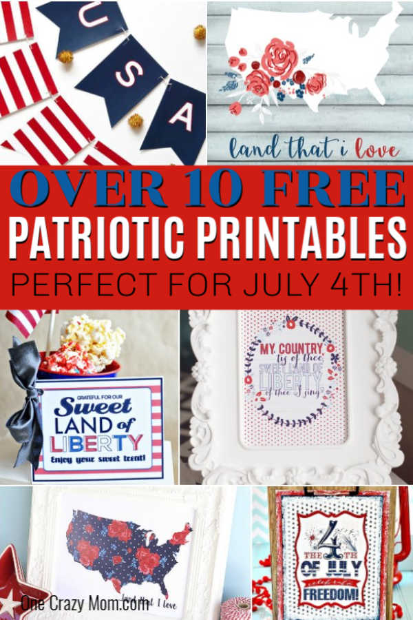 Use one of these free 4th of july printables to decorate your home for less. These patriotic 4th of July printables are easy to print for your home. Grab an inexpensive frame for fourth of july printables and you are set!