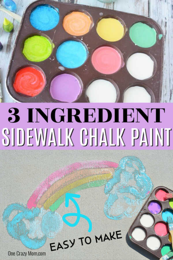 Make this fun and easy sidewalk chalk paint recipe 3 ingredients. The kids will love using sidewalk paint to create artwork. Once you learn how to make this DIY sidewalk chalk paint recipe, you won't believe how easy it is to make this homemade recipe that is washable too! Learn how to make this paint today! #onecrazymom #sidewalkchalkpaint #DIYrecipes