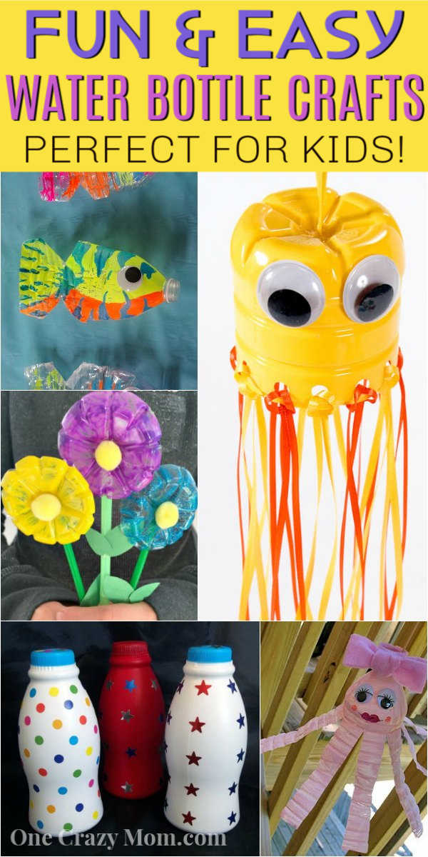 I think you will love these water bottle crafts for kids. These are perfect for keeping the kids busy without breaking the bank! Try 12 water bottle crafts for kids recycled. Your kids are going to love these DIY plastic bottle crafts! #onecrazymom #crafts #craftideas