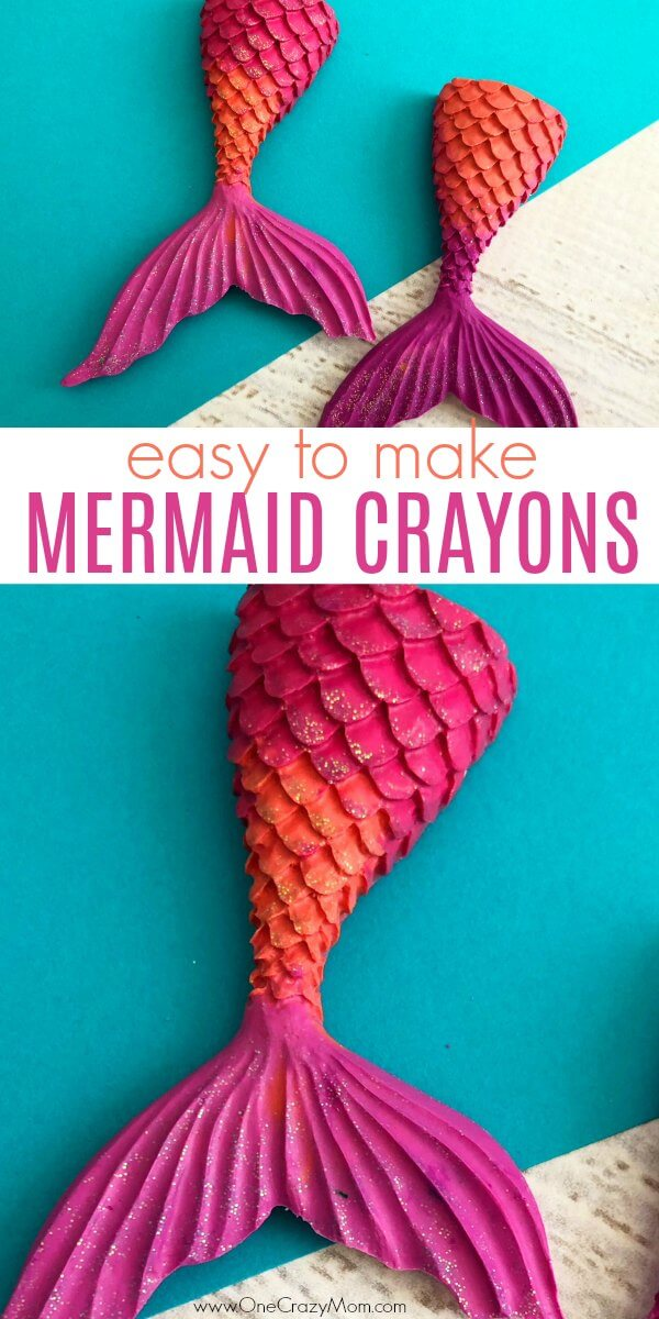 Learn how to make crayons shaped like mermaid tails! These are perfect for a mermaid birthday party. It's so easy once you know how to make crayons. Try these fun mermaid tails crayons. Kid's will love all the glitter! They are so pretty!