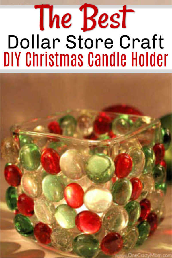 Looking to jazz up your holiday decor on a budget? Try this DIY Dollar Store Christmas Candle Holder that takes only minutes to make and is frugal and easy.