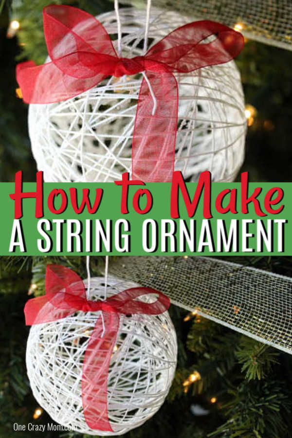 Learn how to make a string ornament for kids. It is so easy to make DIY Christmas Ornaments and budget friendly when all the supplies are from the Dollar Store! #onecrazymom #DIYornaments #christmasornaments