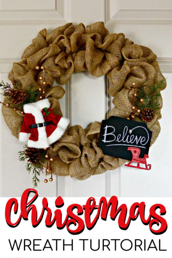 Learn how to make a burlap wreath for Christmas. This burlap Christmas wreath is so simple to make. Christmas burlap wreaths look so festive.