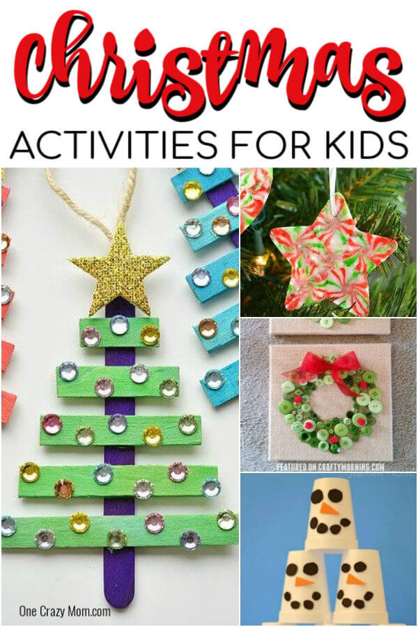 Find Easy Christmas ideas for families here. 20 Fun Christmas activities ideas for kids or toddlers from crafts to games that kids will love. Christmas activities to keep them busy.  These are perfect for the classroom too! #onecrazymom #christmasactivities #kidactivities