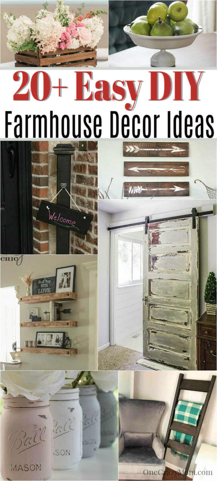 We have over 20 DIY Farmhouse decor ideas that are easy to make. Find lots of ideas that are budget friendly and simple to create for your home.
