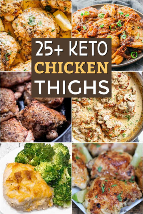 You will love these Keto Chicken Thigh Recipes if you are eating ketogenic. They are simple and delicious. The entire family will love keto chicken thighs boneless. These include recipes for skin on chicken thighs and skinless chicken thighs. Please they are ALL easy to make! You will love these easy low carb chicken thighs recipes. #onecrazymom #ketorecipes #lowcarbrecipes