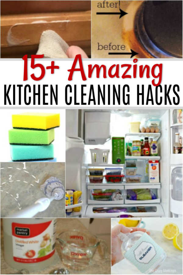 Get your kitchen clean in no time at all with these Kitchen Cleaning Hacks. Find over 15 kitchen cleaning tips to make life easier.