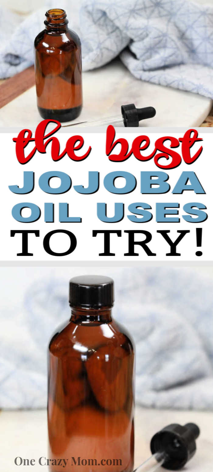 You'll love these jojoba oil uses that you'll want to try today! These uses for jojoba oil are great for your hair, skin and face. You'll love the benefits of this oil. It's great for your skin and has anti-aging qualities as well! #onecrazymom #jojobaoiluses