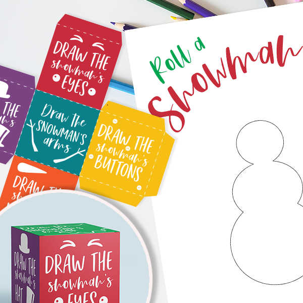 Get this free roll a snowman printable for a fun activity for the kiddos. This would be perfect for Christmas parties and more. Free printable snowman game.