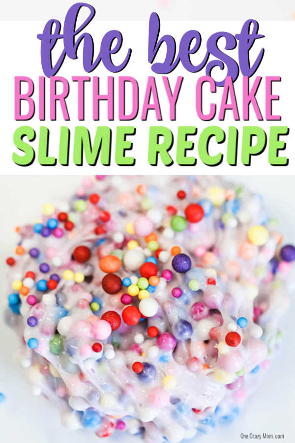 Learn how to make Birthday Cake Slime with only 3 ingredients. Adults and kids love making this birthday cake foam slime recipe in just minutes. It's easy to make this DIY slime recipe! #onecrazymom #slimerecipes #birthdaycakeslime