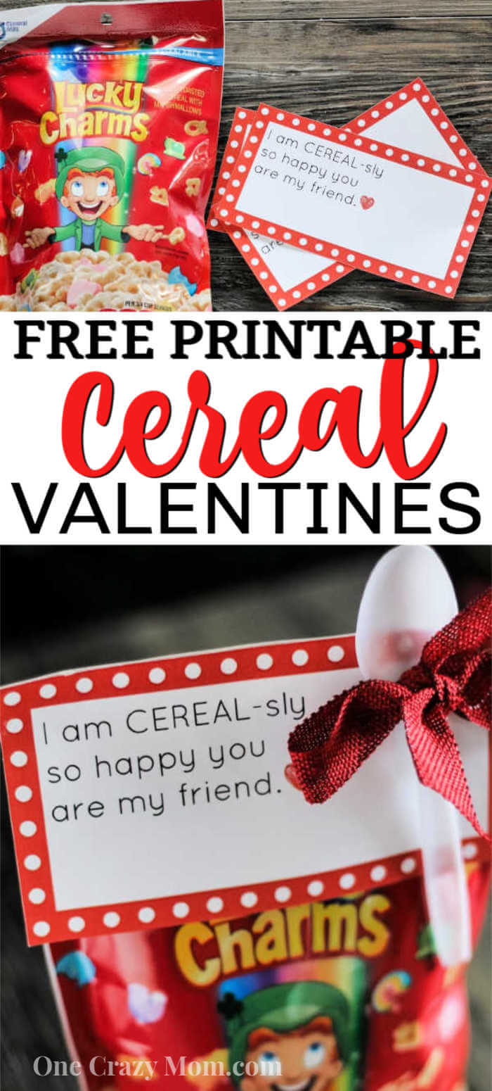 If you are looking for something different to hand out this Valentine's Day, try making Cereal Valentines. Get a FREE cereal VALENTINES PRINTABLE.