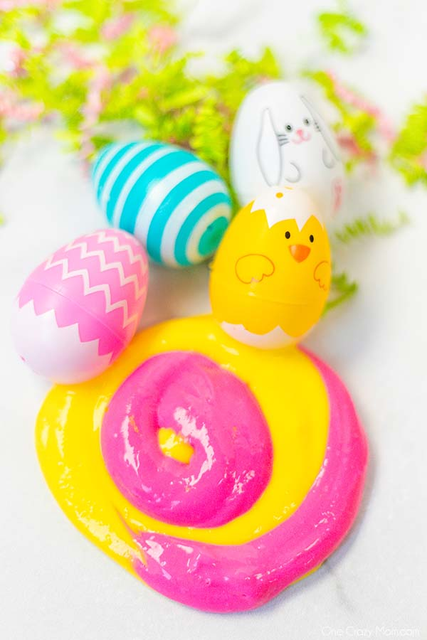 Easter Slime is super easy with only 3 ingredients. The kids will have a blast making Easter egg slime and it looks so cool!