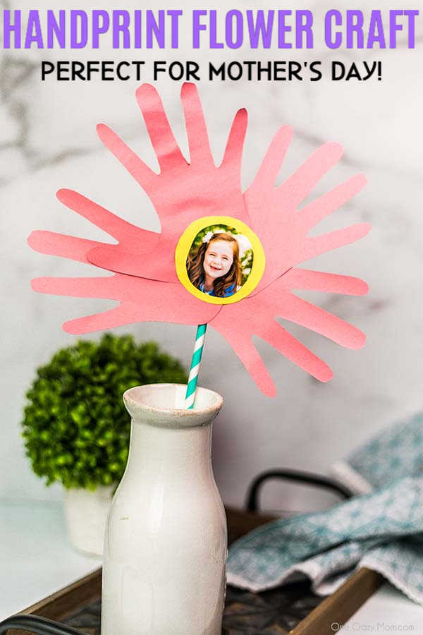 Handprint Flowers are perfect to make for Mother's Day, birthdays and more. This gift will be cherished for years to come by Mom, Grandma and others.
