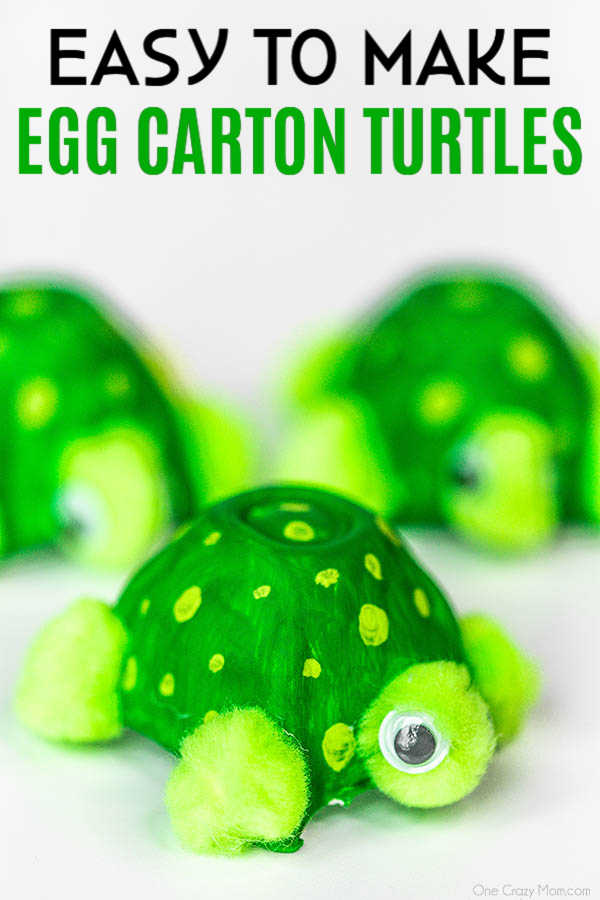 Save your empty egg cartons and make this Easy Turtle Egg Carton Craft. This is the perfect craft to make with the kiddos that is easy, frugal and fun!