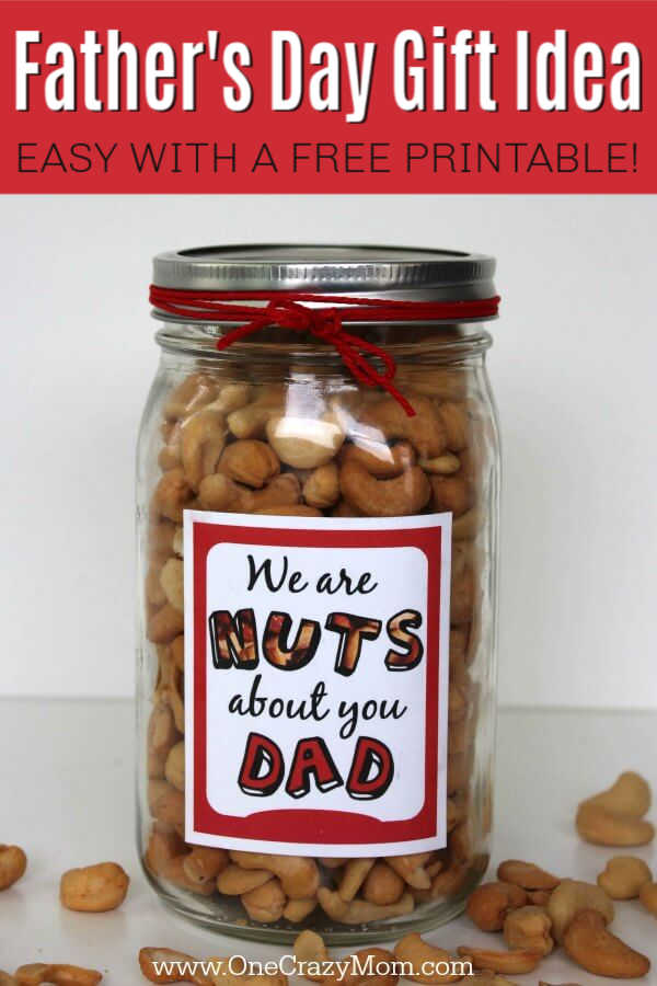 Give this DIY Father's Day Gift Idea a try! Dad will love this easy father's day gift idea.This is one of the best fathers day gifts! Dad will love getting his favorite snack! Get your free printable!