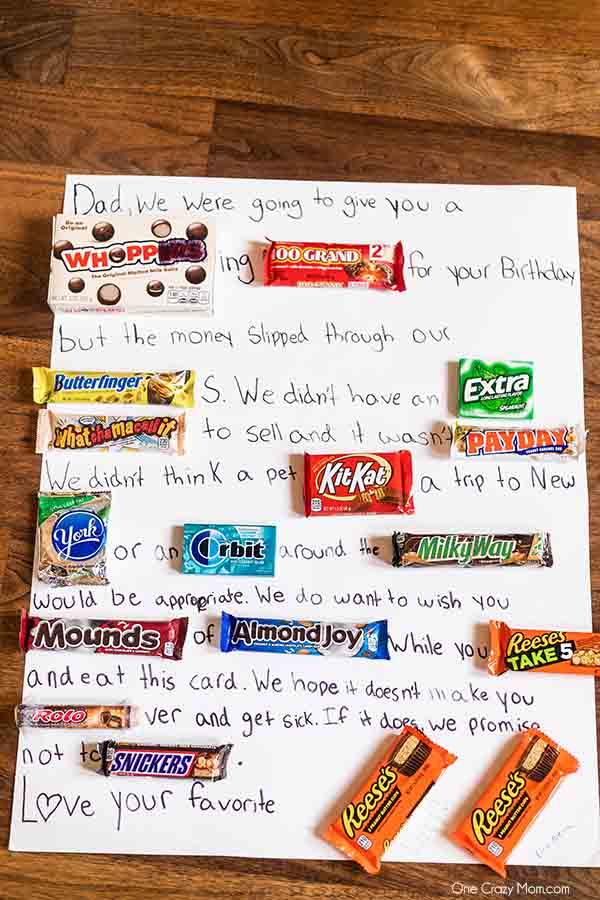 Learn how to make a Candy Card for birthdays, special occasions and more. This diy candy bar card is so fun and really tasty too! Candy card ideas are perfect for dad, for friends and for kids. #onecrazymom #candycard